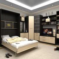 яркий декор спальни и гостиной в одной комнате фото