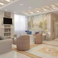 красивый дизайн гостиной в греческом стиле фото