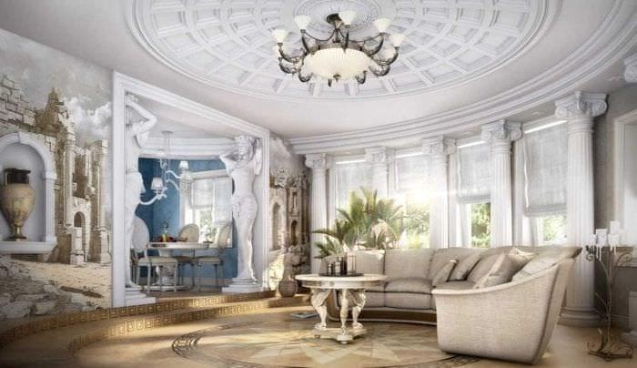 красивый дизайн гостиной в греческом стиле
