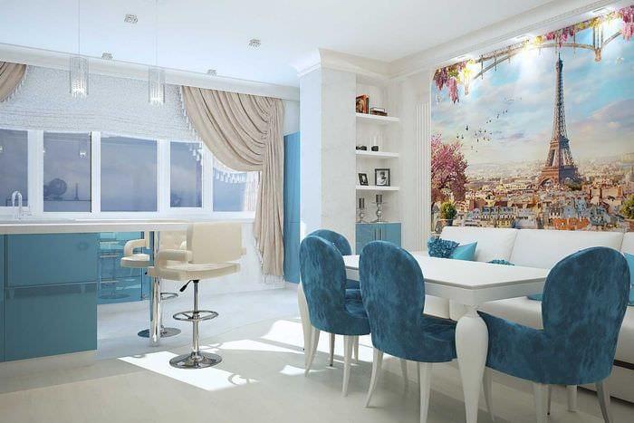 яркий дизайн комнаты в голубом цвете