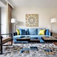 оригинальный интерьер комнаты в голубом цвете фото