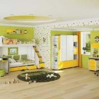 красивый дизайн спальни в горчичном цвете картинка