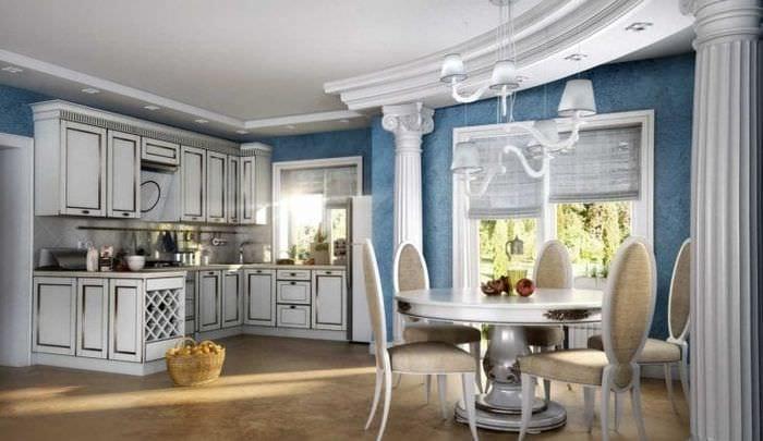 яркий дизайн спальни в греческом стиле