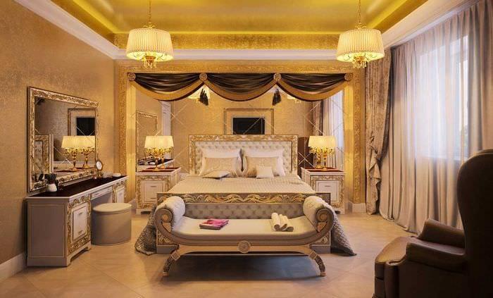 оригинальный интерьер спальни в стиле ампир
