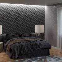 оригинальный интерьер спальни со стеновыми панелями картинка