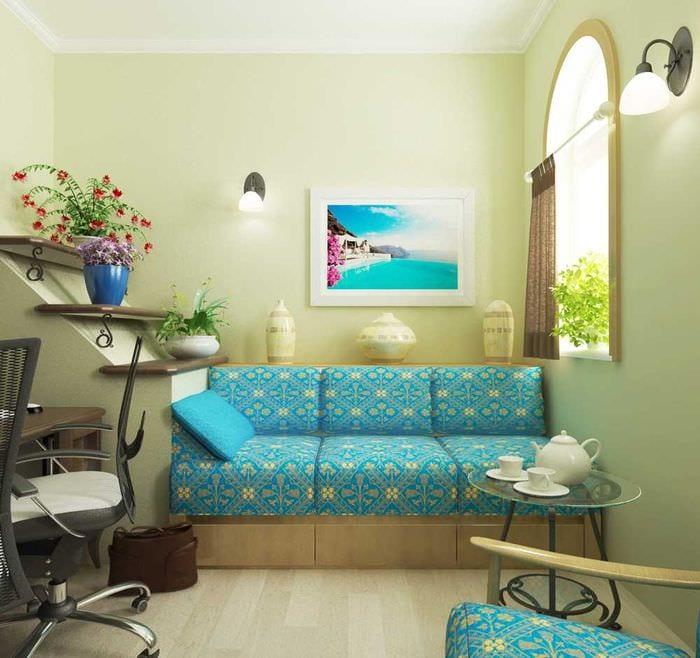 оригинальный интерьер гостиной в средиземноморском стиле