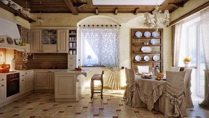 яркий дизайн комнаты в стиле рустик