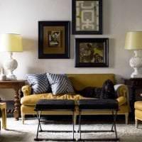 красивый стиль гостиной в горчичном цвете картинка