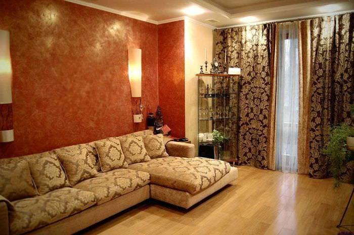 яркий дизайн гостиной в восточном стиле