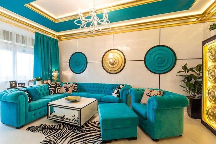 красивый дизайн комнаты в голубом цвете