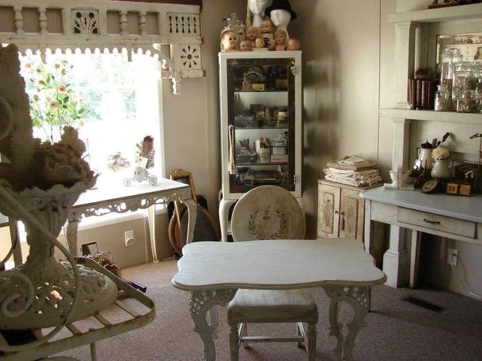 современный интерьер комнаты в винтажном стиле