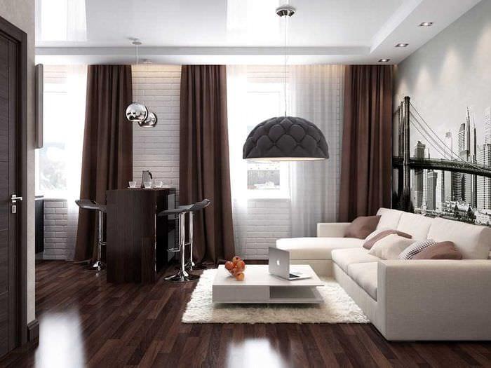 классический темный пол в декоре комнаты
