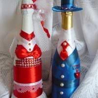 красивое украшение бутылок разноцветными ленточками фото