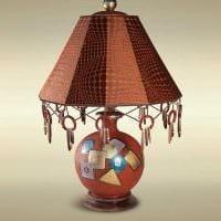 оригинальное оформление абажура лампы подручными материалами картинка