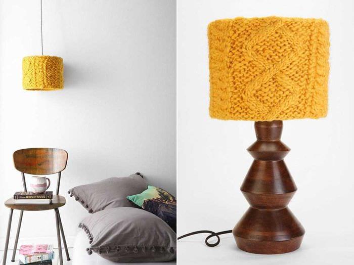 яркое декорирование абажура лампы своими руками