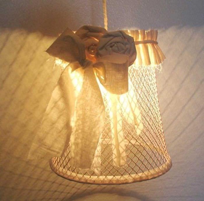 оригинальное украшение абажура своими руками