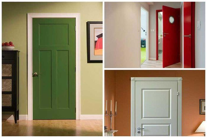 необычное оформление дверей подручными материалами