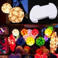 светлое декорирование абажура подручными материалами картинка