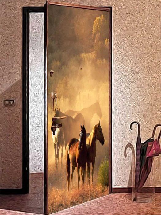 красивое украшение входных дверей подручными материалами
