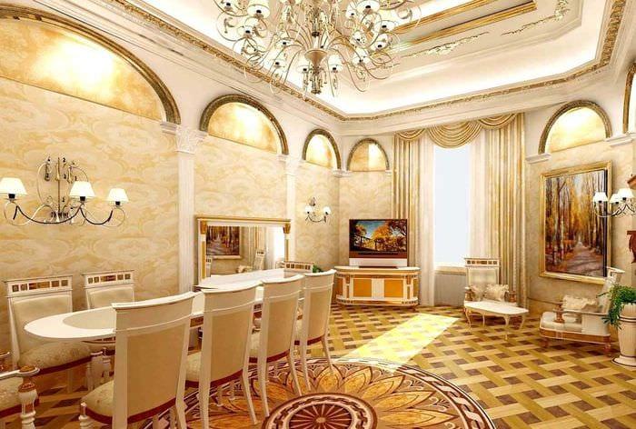 яркий дизайн спальни в стиле ампир