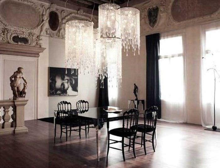 современный дизайн гостиной в готическом стиле