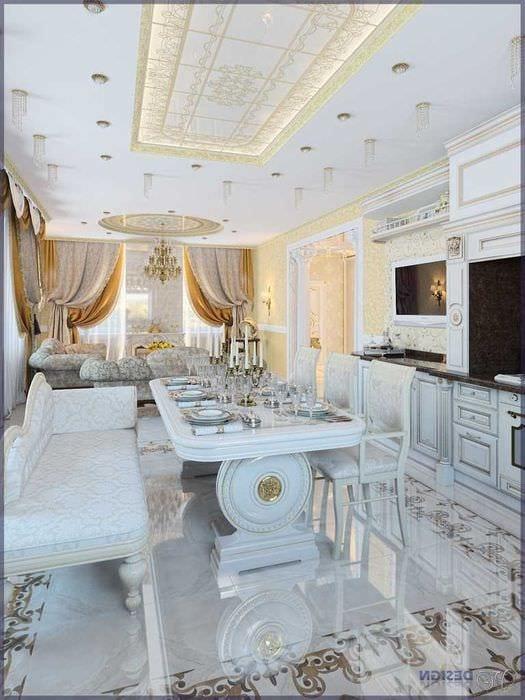 необычный интерьер гостиной в стиле ампир