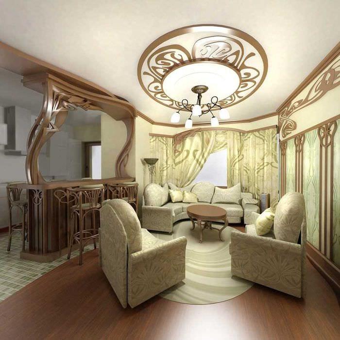яркий декор гостиной в стиле модерн