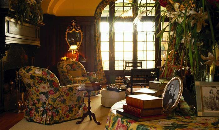 современный интерьер гостиной в винтажном стиле