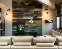 яркий дизайн квартиры со старыми досками картинка