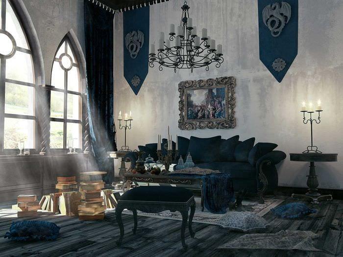 яркий стиль комнаты в готическом стиле