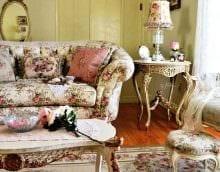 яркий дизайн гостиной в винтажном стиле фото