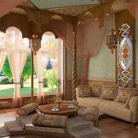 красивый интерьер спальни в восточном стиле картинка