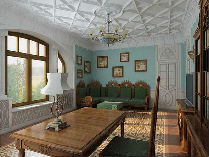 красивый стиль гостиной в готическом стиле