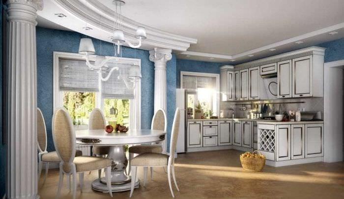 красивый дизайн спальни в греческом стиле