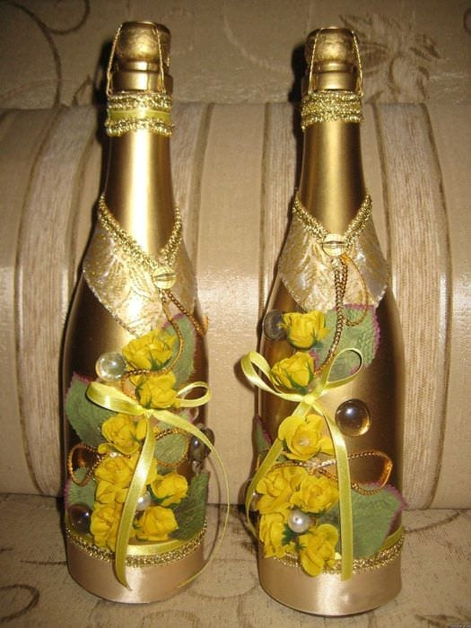 Украшение шампанского своими руками на день рождения
