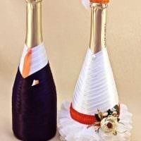 оригинальное декорирование бутылок декоративными ленточками фото