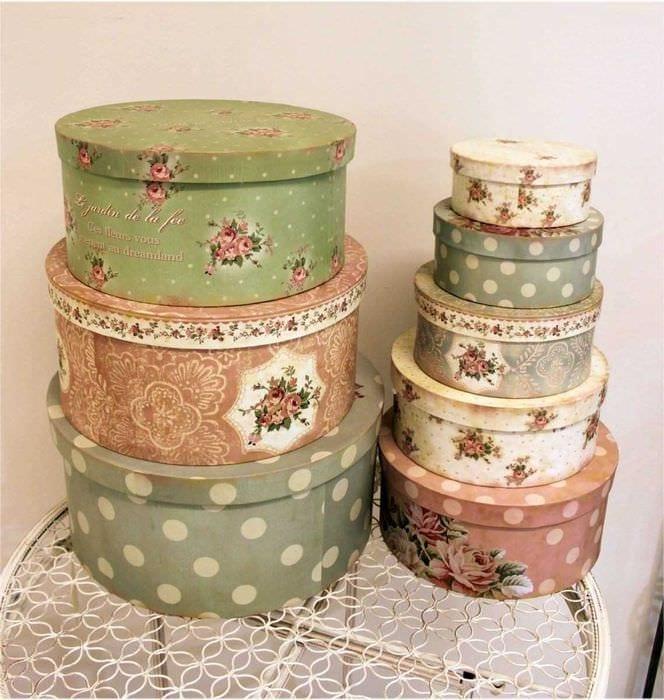 оригинальное декорирование коробок для хранения своими руками