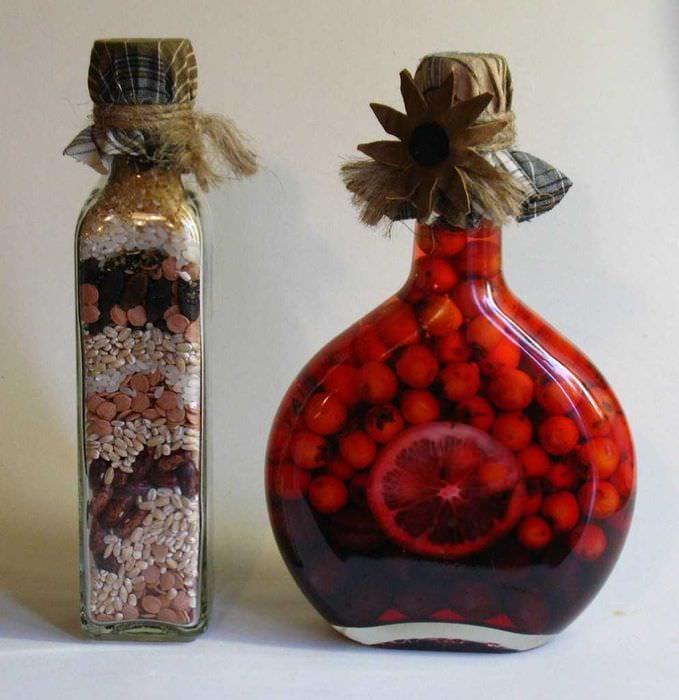 красивое украшение бутылок для стиля квартиры