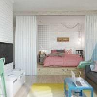 яркий интерьер спальни гостиной фото