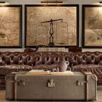 необычный интерьер гостиной со старыми чемоданами фото