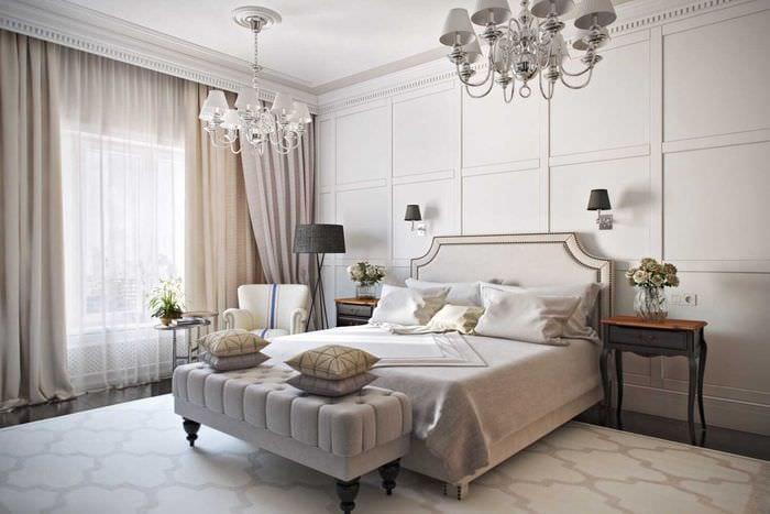 красивый интерьер спальни со стеновыми панелями