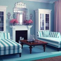 яркий дизайн спальни в голубом цвете картинка