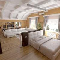 светлый стиль спальни и гостиной в одной комнате картинка