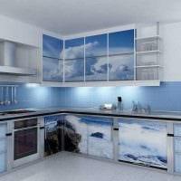 красивый декор квартиры в голубом цвете фото