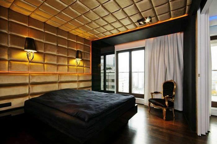 оригинальный декор спальни со стеновыми панелями