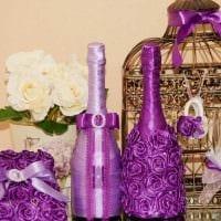 оригинальное декорирование бутылок декоративными ленточками картинка