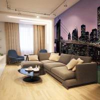 сочетание оригинальных обоев в дизайне гостиной комнаты фото