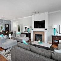 комбинирование красивых обоев в интерьере гостиной комнаты картинка