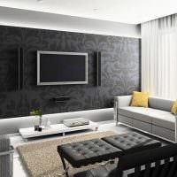 сочетание ярких обоев в дизайне гостиной фото