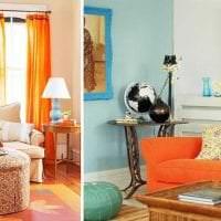 сочетание темного оранжевого в декоре спальни с другими цветами фото